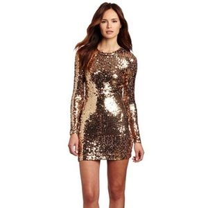French Connection Long Sleeve Gold Sequin Dress